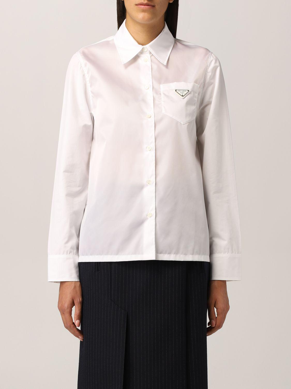 Camicia Prada: Camicia Prada in popeline con logo triangolare bianco 1