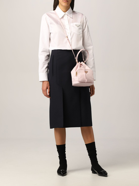 Camicia Prada: Camicia Prada in popeline con logo triangolare bianco 2