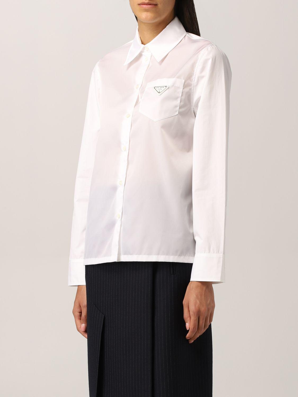 Camicia Prada: Camicia Prada in popeline con logo triangolare bianco 4