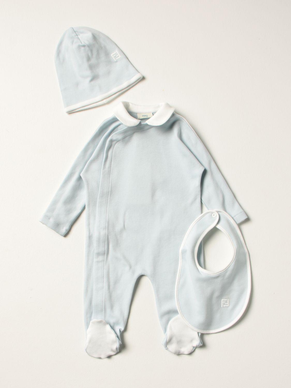 Распашонка Fendi: Костюмчик Детское Fendi голубой 1