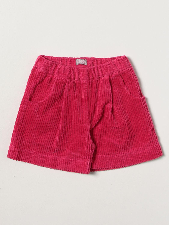 Pantaloncino Il Gufo: Pantaloncino Il Gufo in velluto a coste fuxia 1