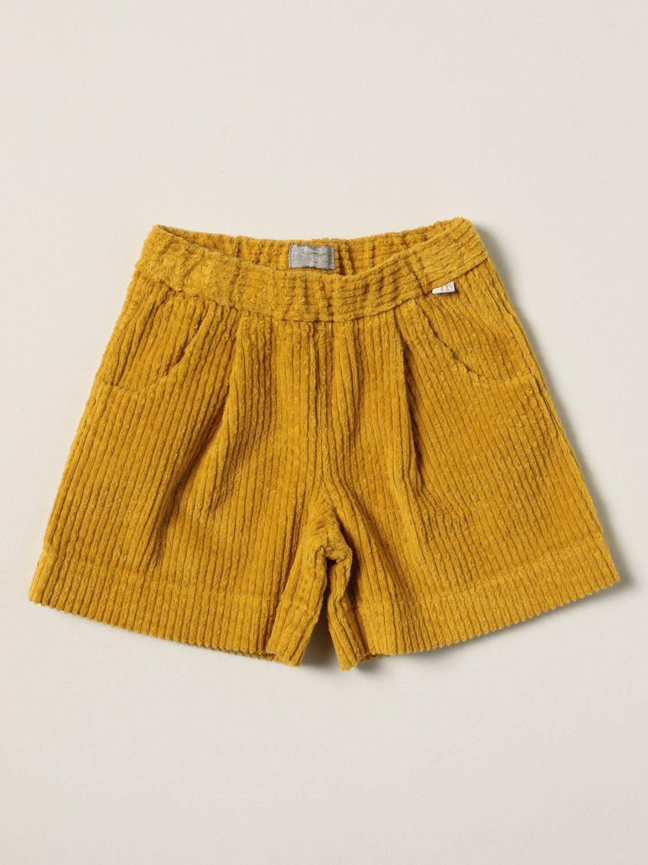 Pantaloncino Il Gufo: Pantaloncino Il Gufo in velluto a coste senape 1