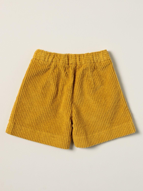 Pantaloncino Il Gufo: Pantaloncino Il Gufo in velluto a coste senape 2