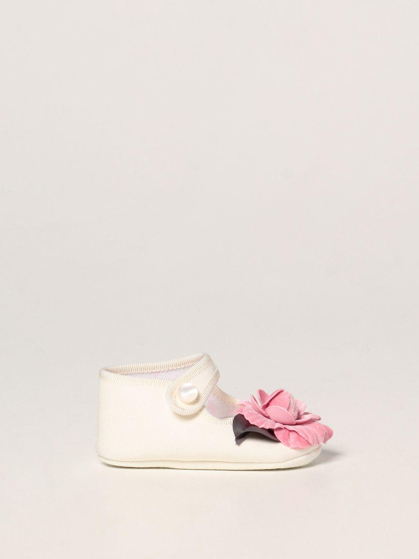 Scarpe Monnalisa: Scarpa da culla Monnalisa in jersey con rosa panna 1