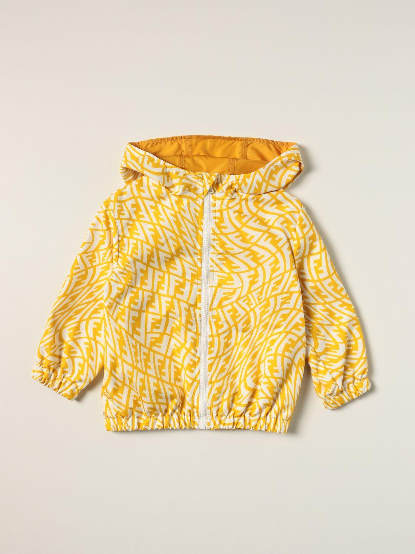 Jacket Fendi: Fendi nylon cotton blend jacket with FF Vertigo logo yellow 1
