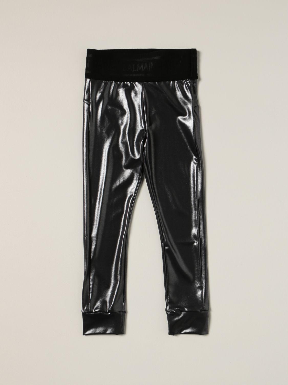 Pants Balmain: Metallic stretch Balmain leggings black 1
