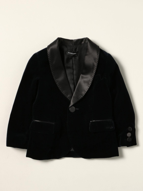 Blazer Monnalisa: Monnalisa single-breasted jacket in velvet blue 1