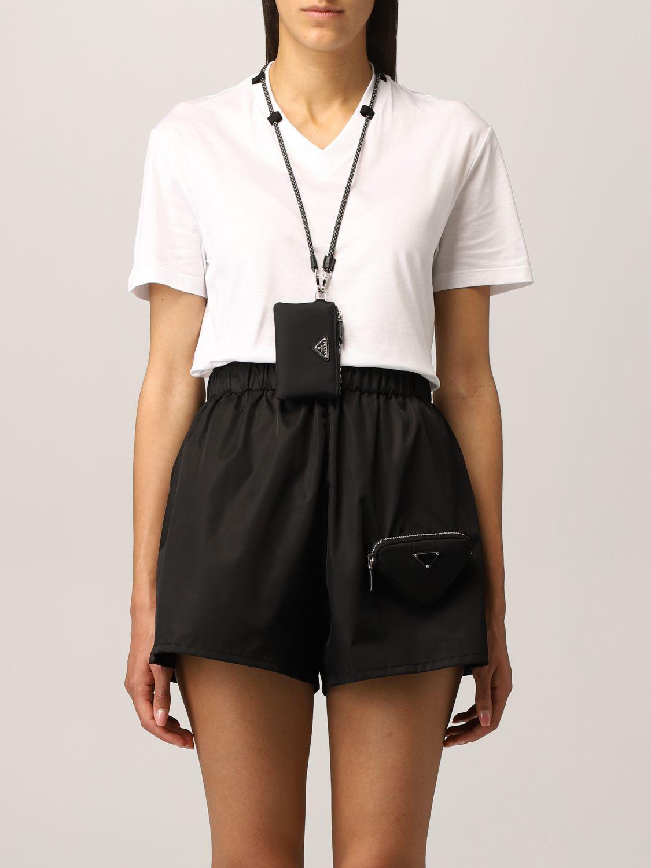 T-shirt Prada: T-shirt Prada con pochette da collo bianco 1