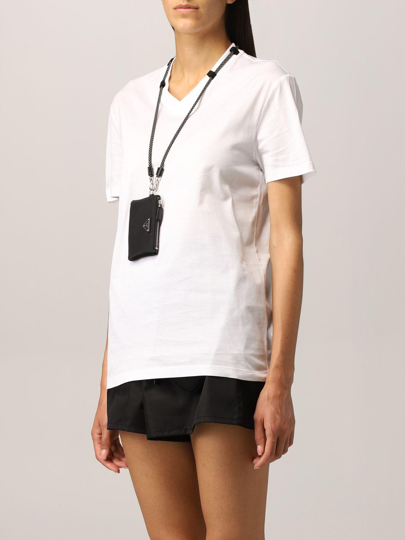 T-shirt Prada: T-shirt Prada con pochette da collo bianco 4