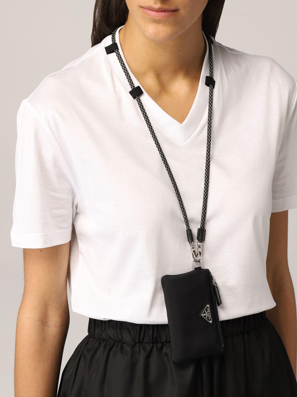 T-shirt Prada: T-shirt Prada con pochette da collo bianco 5