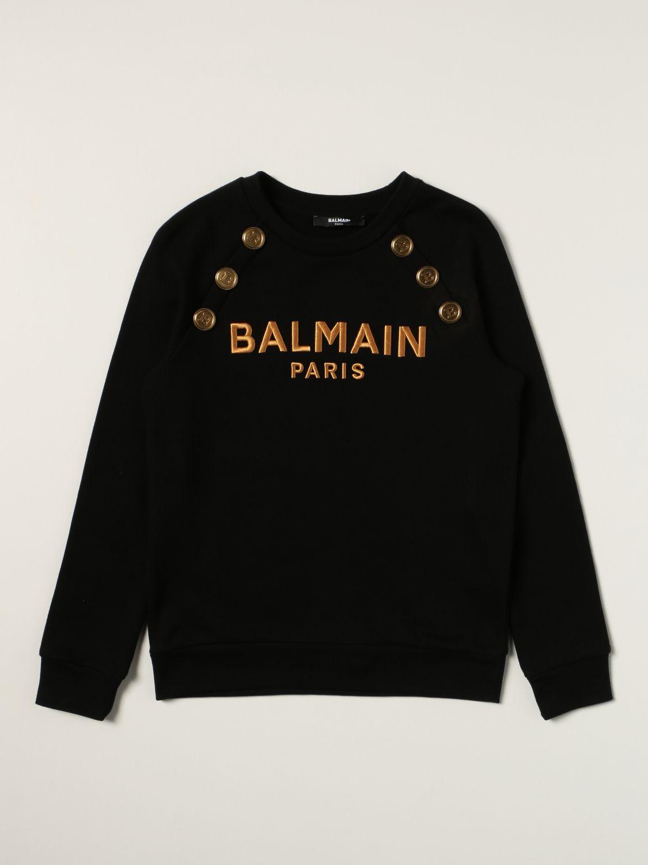 Maglia Balmain: Felpa Balmain in cotone con logo nero 1