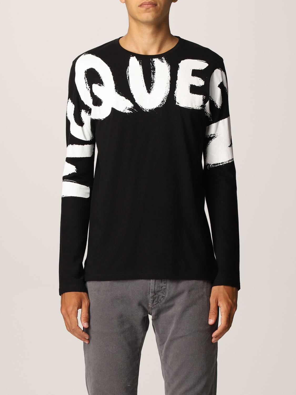 T-shirt Alexander Mcqueen: T-shirt Alexander McQueen in cotone con big logo nero 1