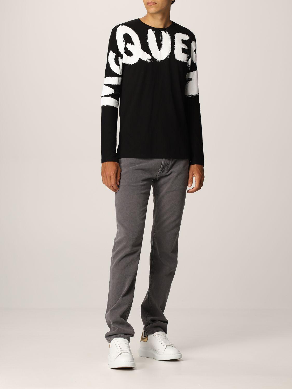 T-shirt Alexander Mcqueen: T-shirt Alexander McQueen in cotone con big logo nero 2