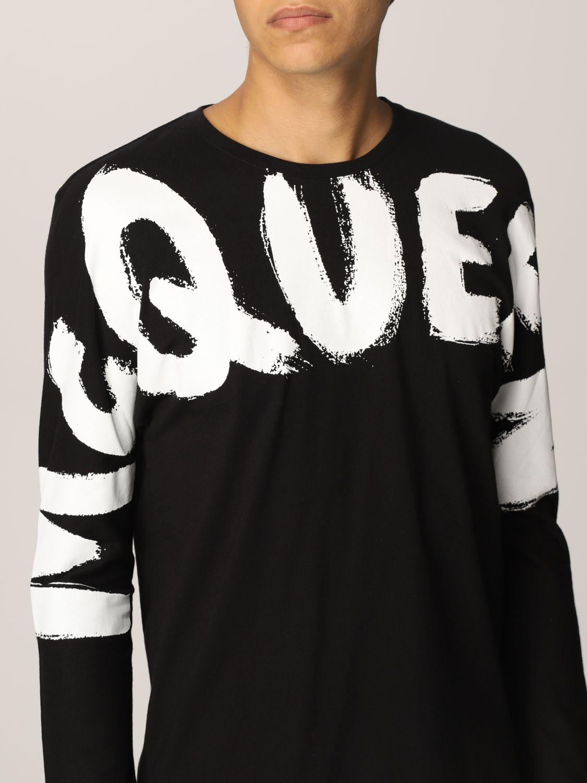 T-shirt Alexander Mcqueen: T-shirt Alexander McQueen in cotone con big logo nero 5