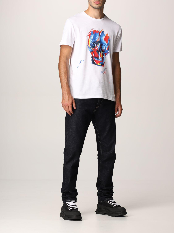 T-shirt Alexander Mcqueen: T-shirt Alexander McQueen con stampa teschio bianco 2
