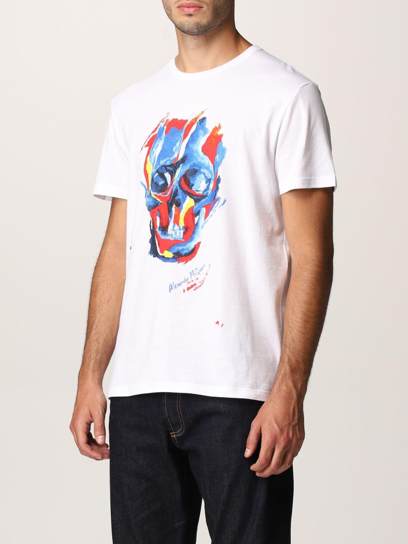 T-shirt Alexander Mcqueen: T-shirt Alexander McQueen con stampa teschio bianco 4