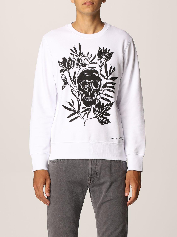 Sweatshirt Alexander Mcqueen: Alexander McQueen cotton sweatshirt with skull white 1