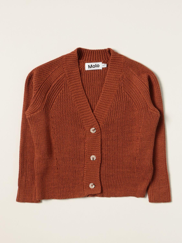 Sweater Molo: Molo cardigan in cotton blend brown 1