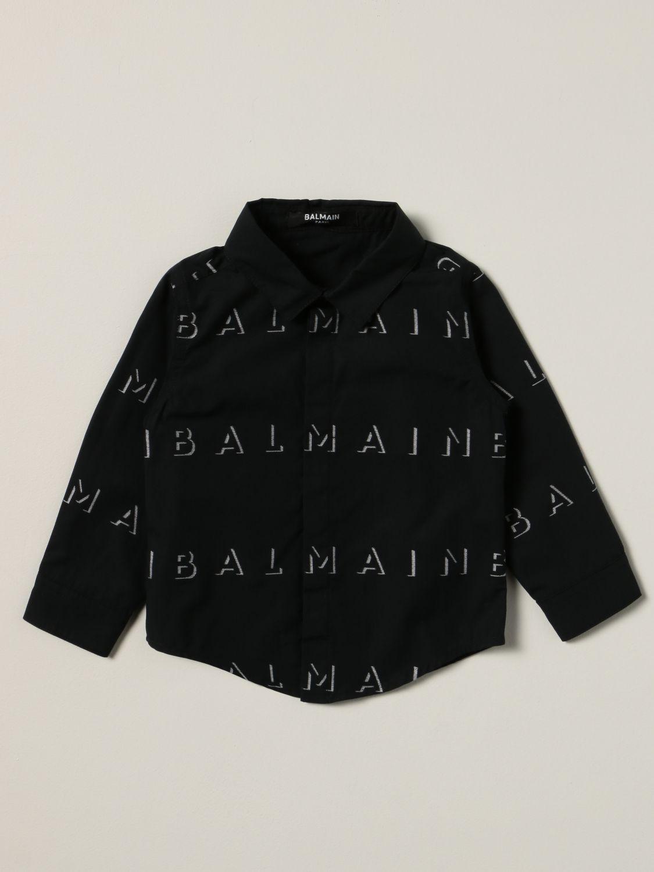 衬衫 Balmain: Balmain 印有Logo的棉质衬衫 黑色 1