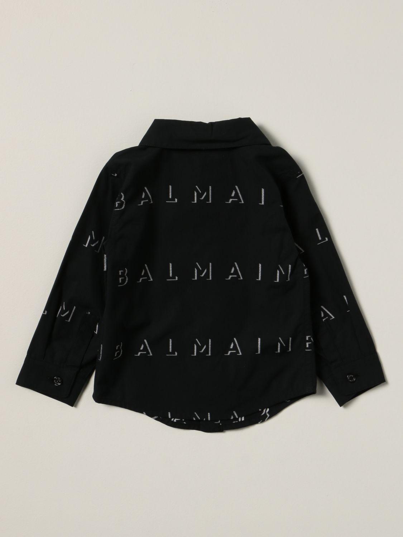 衬衫 Balmain: Balmain 印有Logo的棉质衬衫 黑色 2