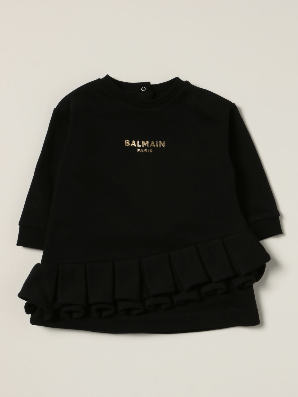 Romper Balmain: Balmain dress with laminated logo black 1