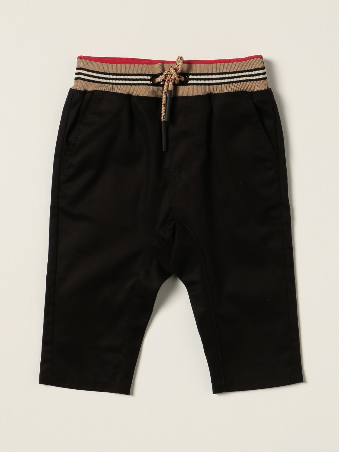 Trousers Burberry: Burberry jogging trousers in cotton twill with striped pattern black 1