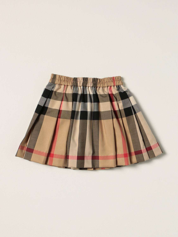 Skirt Burberry: Burberry pleated skirt in tartan stretch cotton beige 1