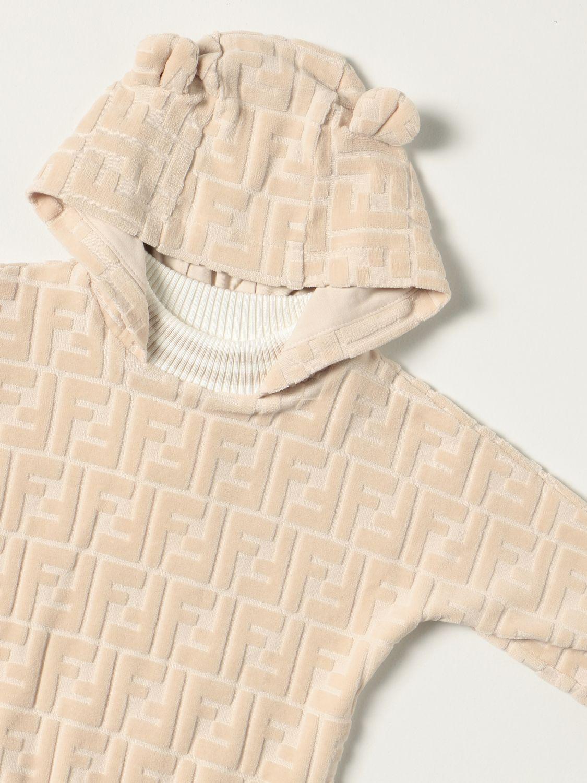 Maglia Fendi: Felpa Fendi in cotone con motivo FF all over beige 3