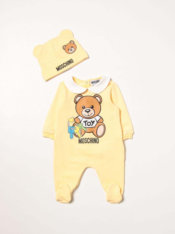 Pack Moschino Baby: Romper set with foot + Moschino Baby hat yellow 1