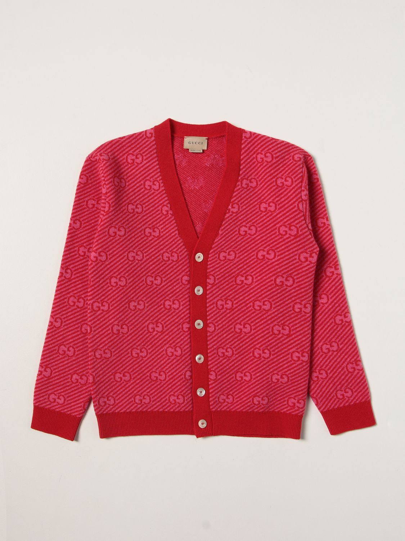 Maglia Gucci: Cardigan Gucci con logo all over rosso 1