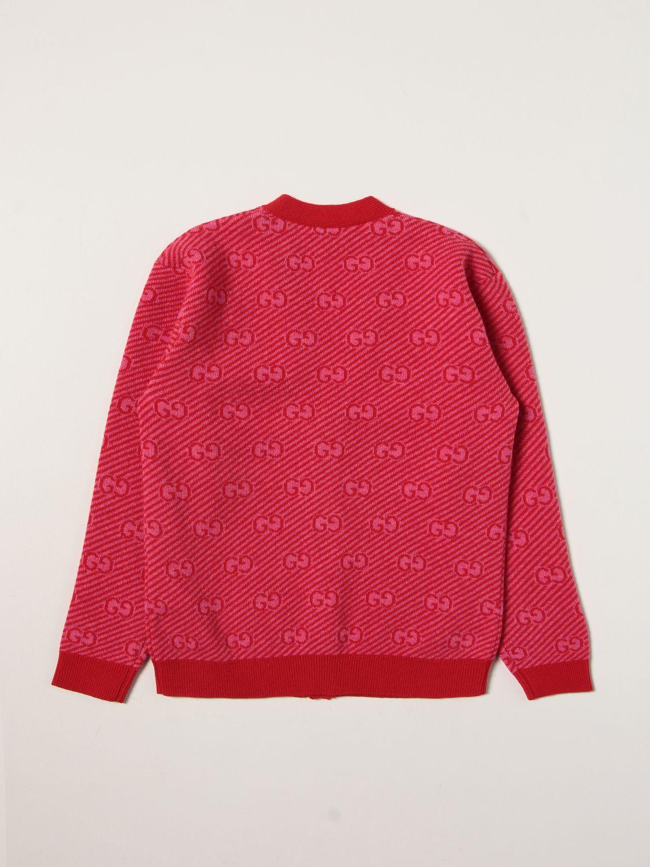 Maglia Gucci: Cardigan Gucci con logo all over rosso 2