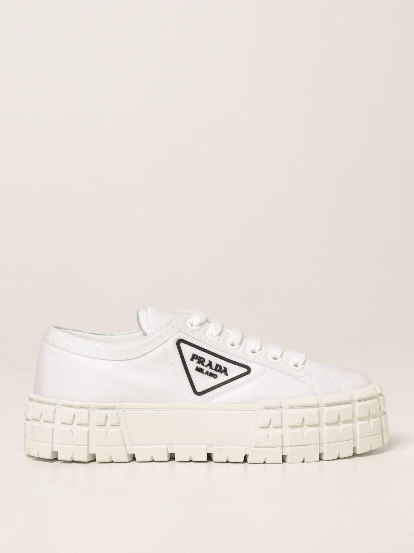 Sneakers Prada: Sneakers Wheel Prada in gabardine Re-Nylon bianco 1