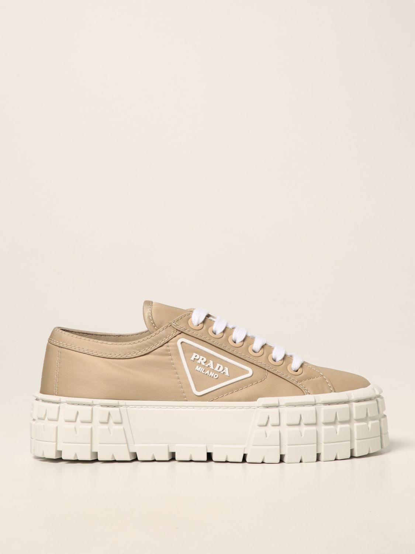 Sneakers Prada: Sneakers Wheel Prada in gabardine Re-Nylon sabbia 1
