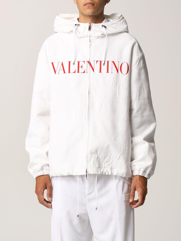 Giacca Valentino: Caban Valentino in cotone tecnico con logo bianco 1