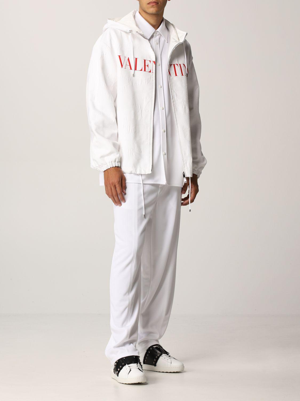 Giacca Valentino: Caban Valentino in cotone tecnico con logo bianco 2