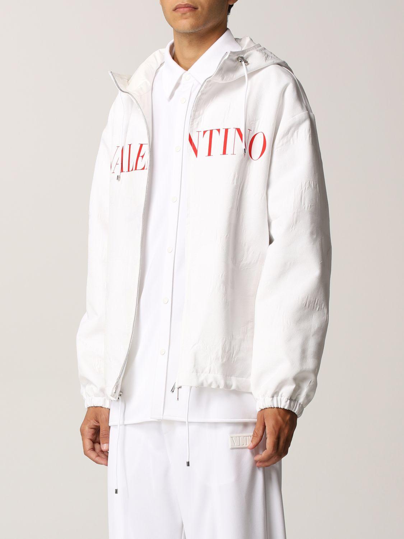 Giacca Valentino: Caban Valentino in cotone tecnico con logo bianco 4