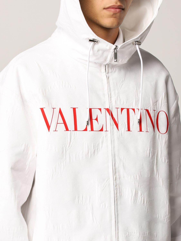 Giacca Valentino: Caban Valentino in cotone tecnico con logo bianco 5