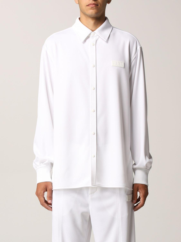 Camicia Valentino: Camicia Valentino in jersey con logo VLTN gommato bianco 1