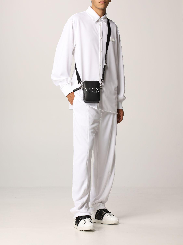 Camicia Valentino: Camicia Valentino in jersey con logo VLTN gommato bianco 2