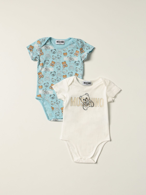 Body Moschino Baby: Set 2 body Moschino Baby con teddy azzurro 1