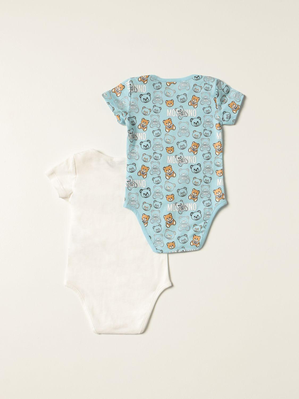 Body Moschino Baby: Set 2 body Moschino Baby con teddy azzurro 2