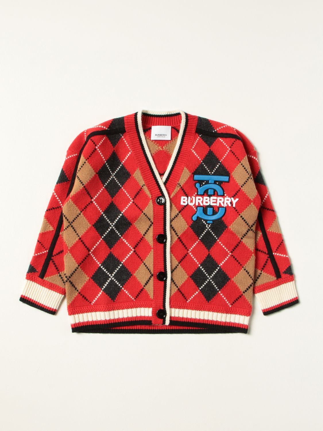 Jumper Burberry: Burberry cardigan in wool and cashmere with Argyle motif red 1