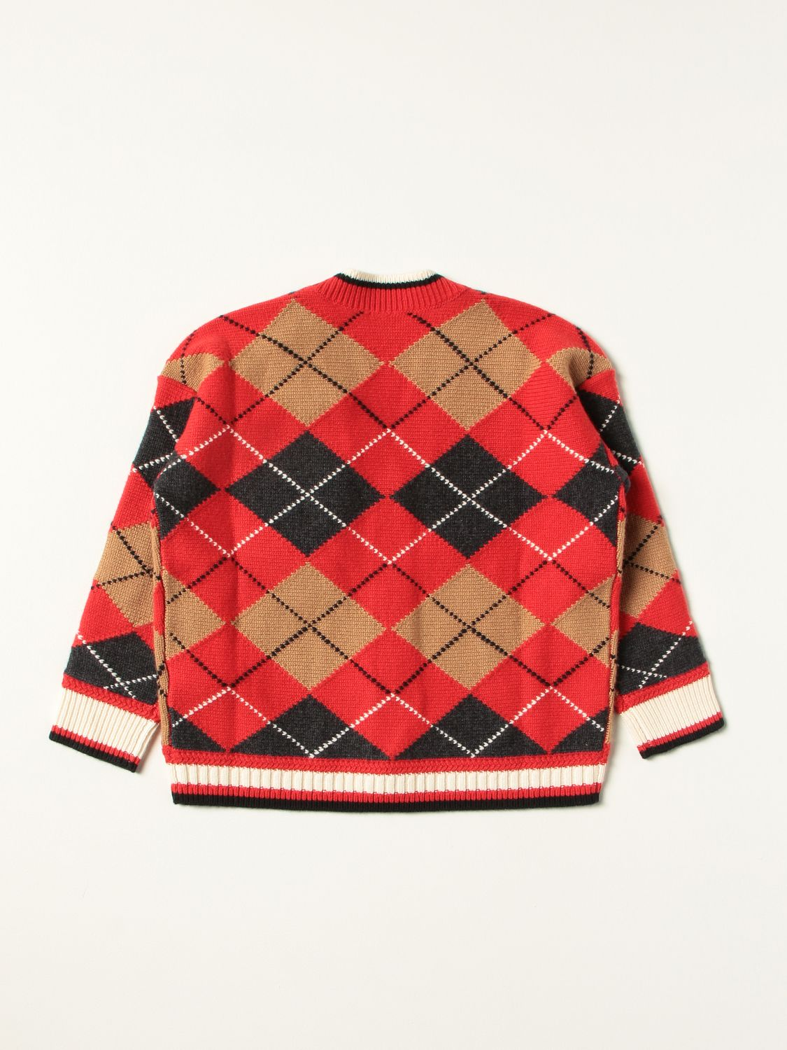 Jumper Burberry: Burberry cardigan in wool and cashmere with Argyle motif red 2