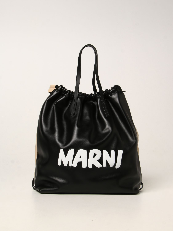 Zaino Marni: Zaino Marni in pelle con logo nero 1