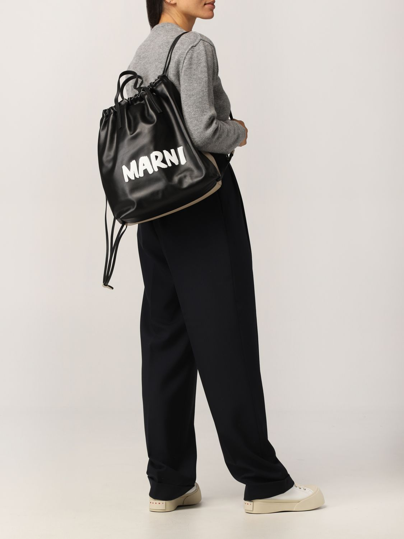 Zaino Marni: Zaino Marni in pelle con logo nero 2