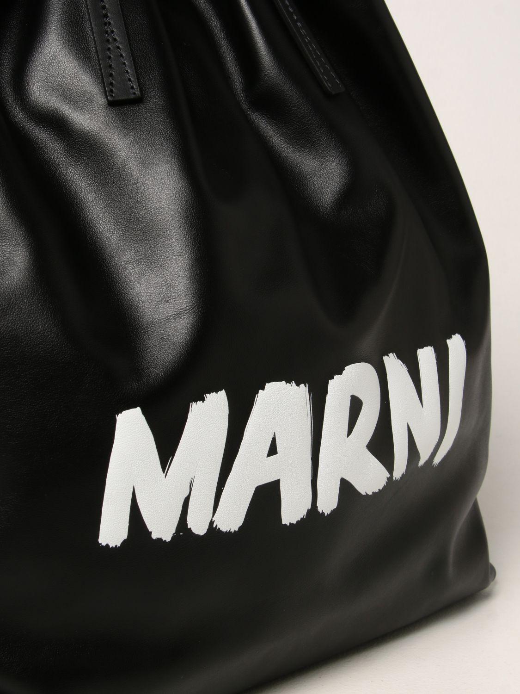 Zaino Marni: Zaino Marni in pelle con logo nero 4