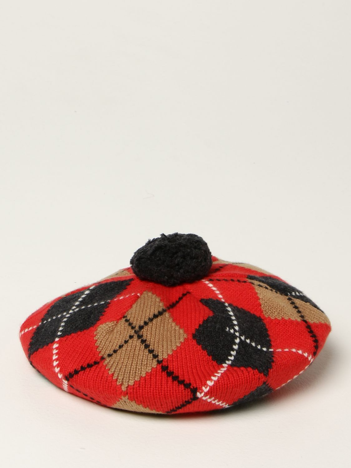 Hat girl Burberry: Burberry beret in wool and cashmere blend with diamond pattern red 1