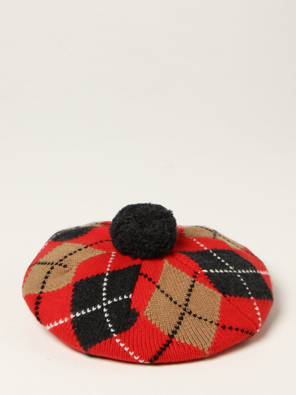 Hat girl Burberry: Burberry beret in wool and cashmere blend with diamond pattern red 2