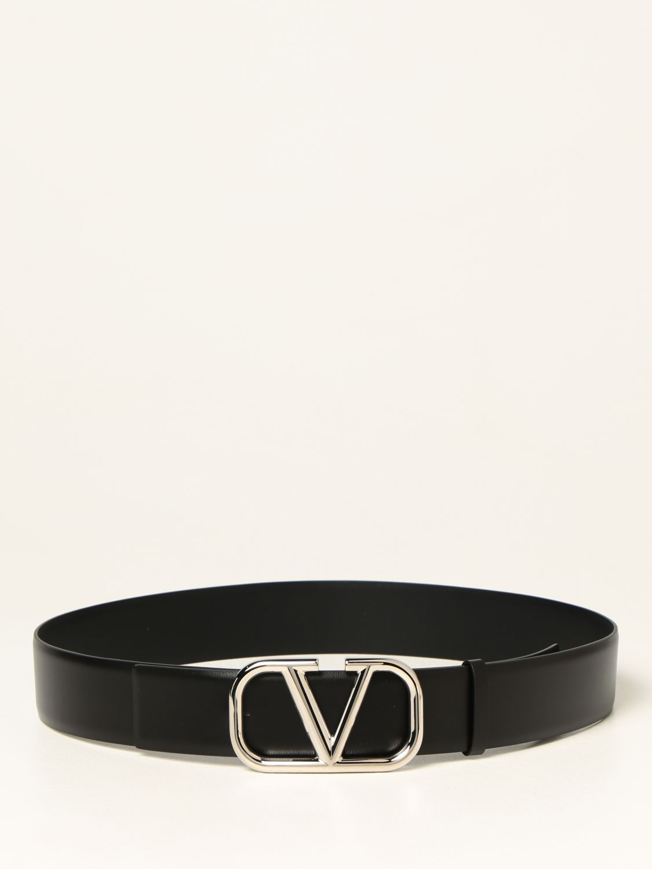 Cintura Valentino Garavani: Cintura Valentino Garavani in pelle con fibbia VLogo nero 1