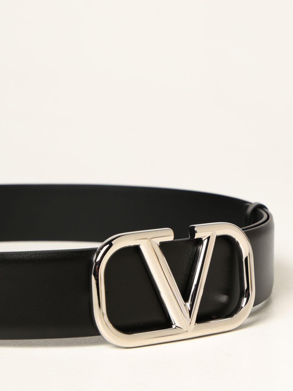 Cintura Valentino Garavani: Cintura Valentino Garavani in pelle con fibbia VLogo nero 2